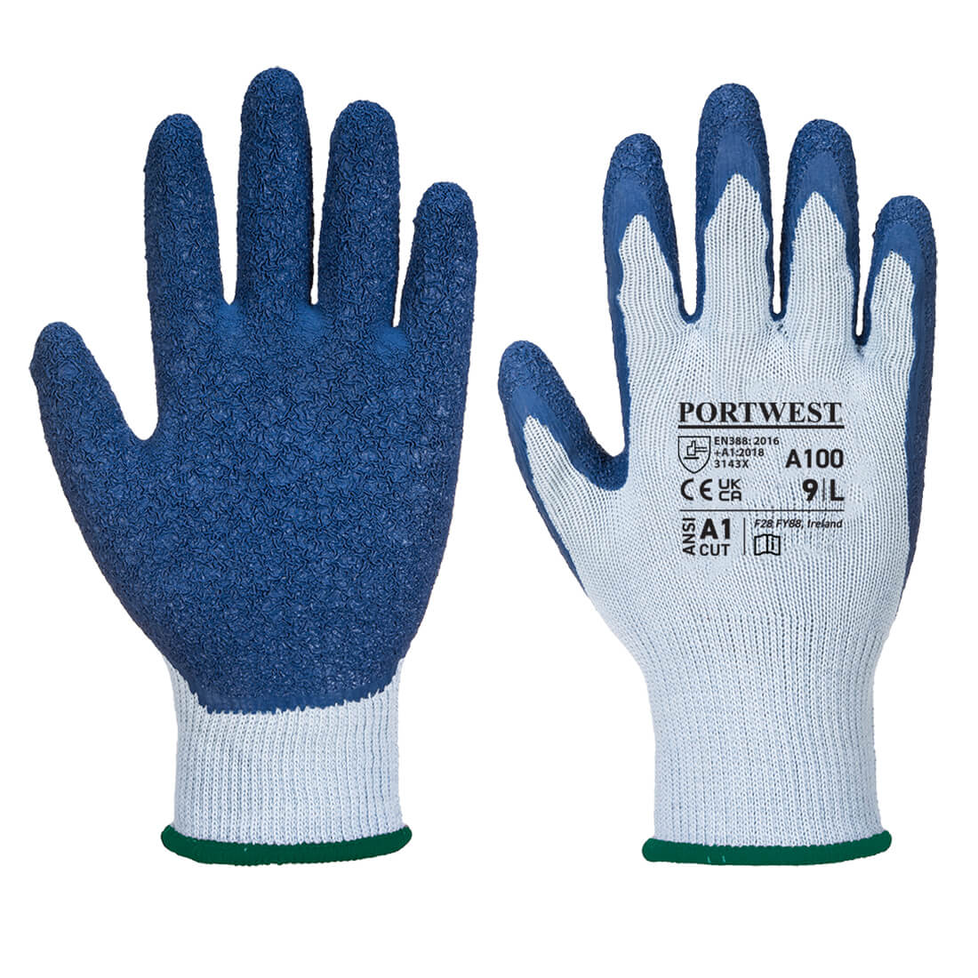 Grip Glove - Latex Grey/Blue Large