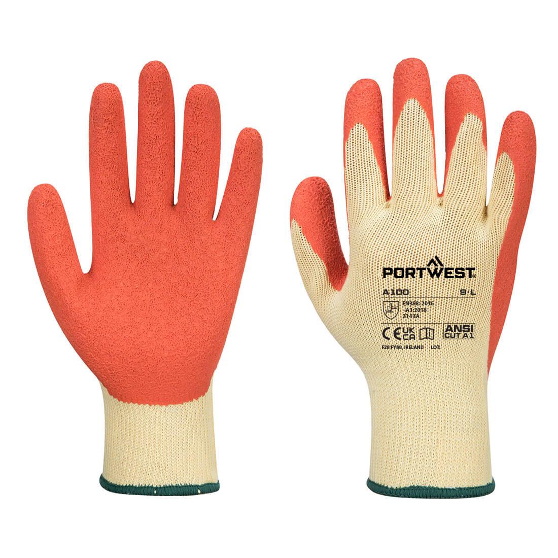 Grip Glove, Orange     Size Large R/Fit