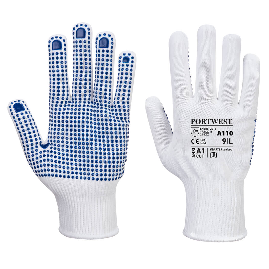 Polka Dot Glove, WhBlu     Size Large R/Fit