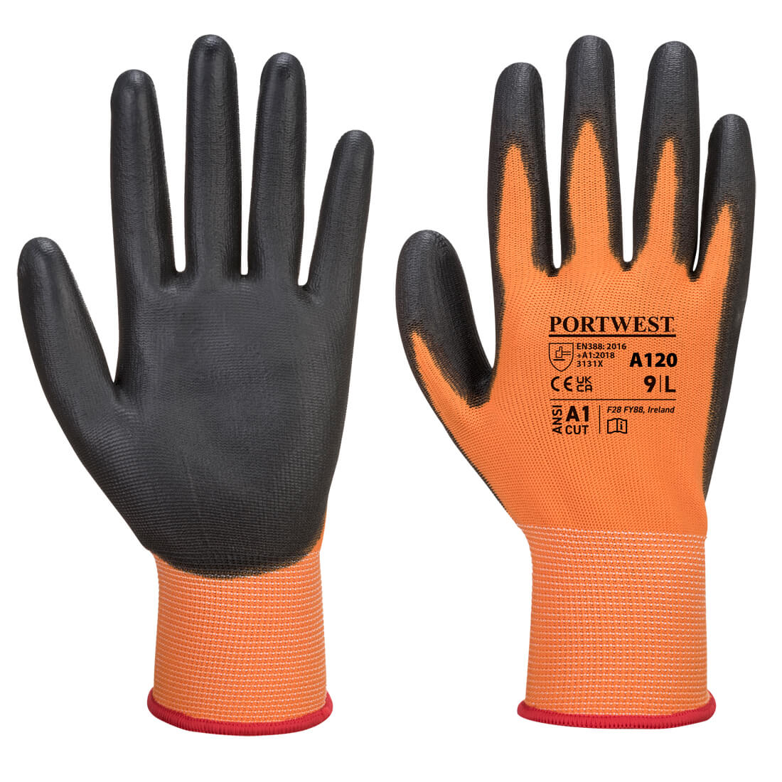 PU Palm Glove Orange/Black Large