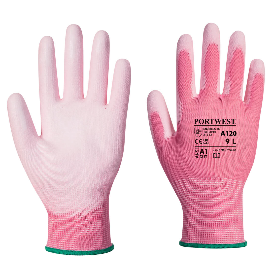 PU Palm Glove, Pink       Size Large R/Fit