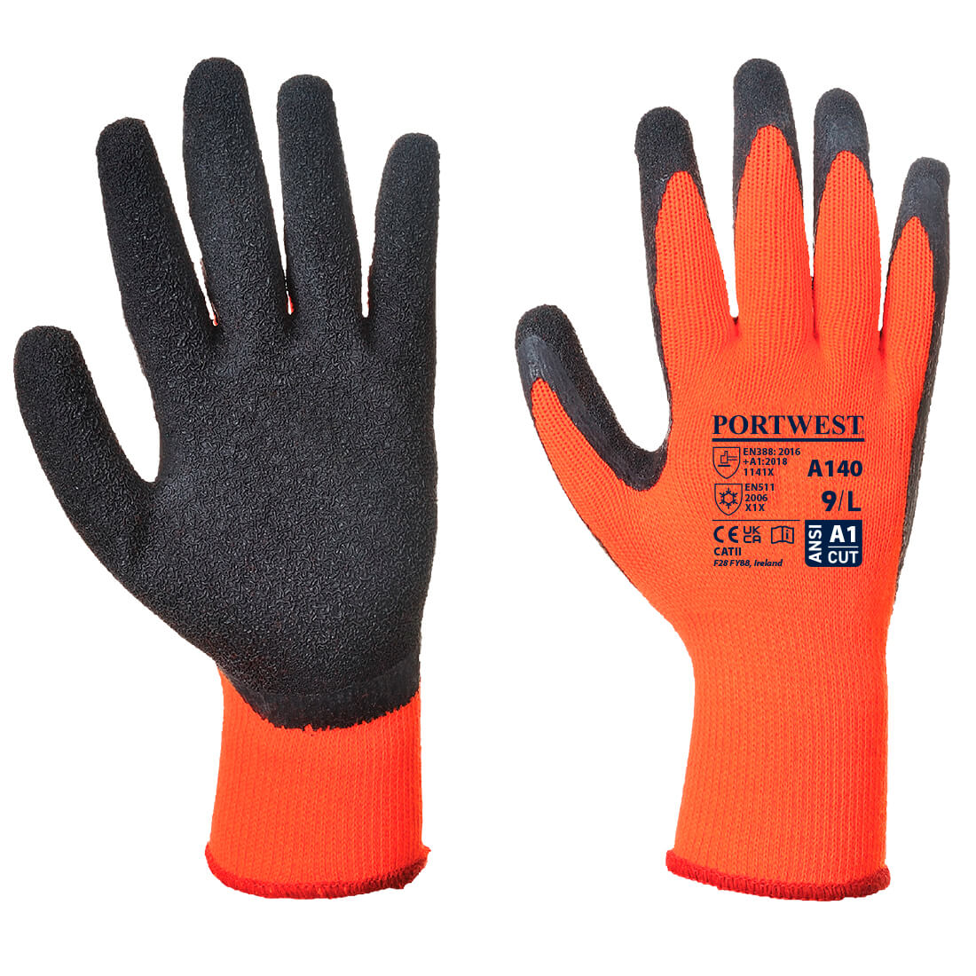 Thermal Grip Glove, OrBk      Size Large B/Fit