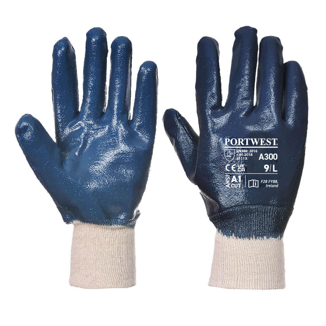 Nitrile Knitwrist Glove, Navy       Size Large R/Fit