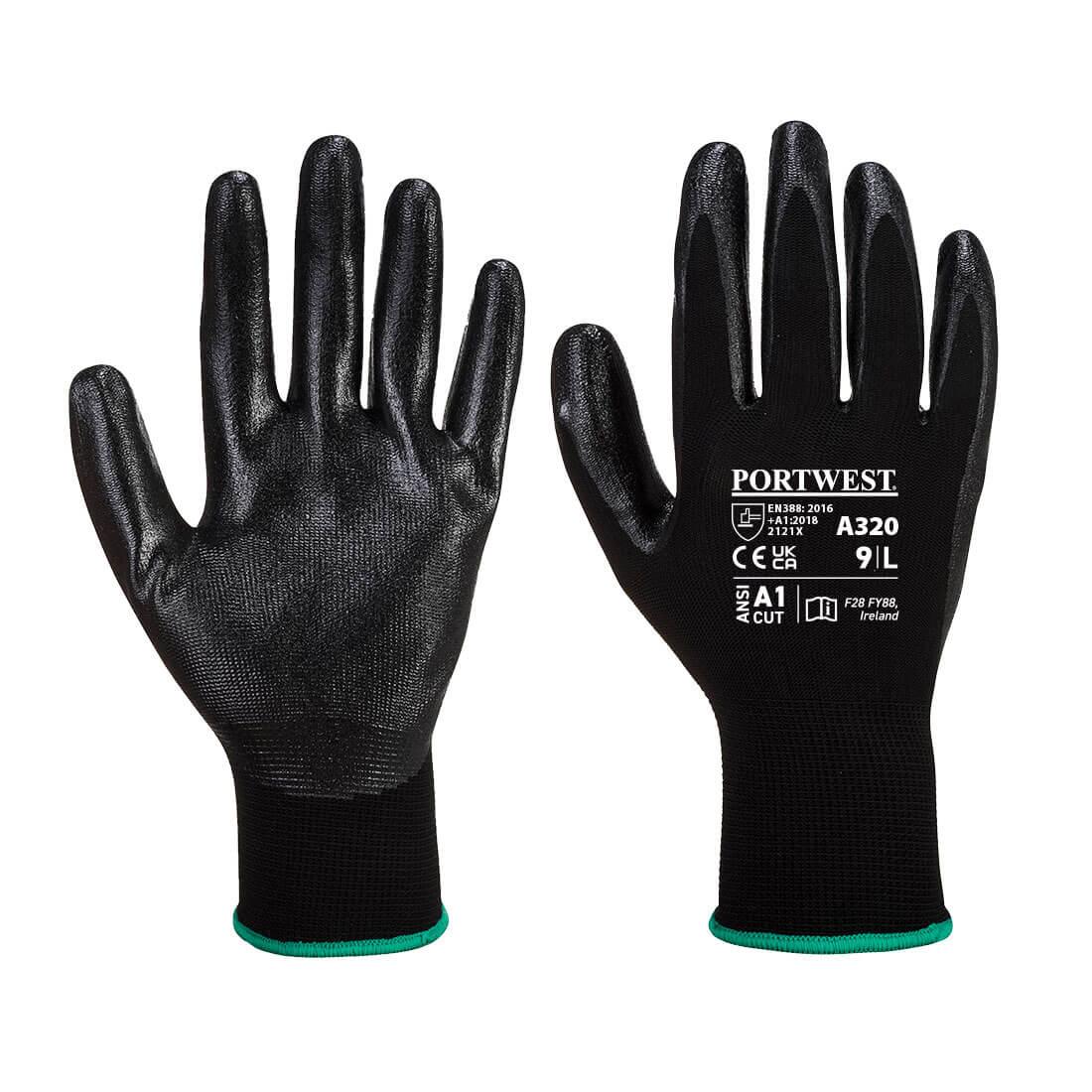 Dexti-Grip Glove, Black      Size Large R/Fit