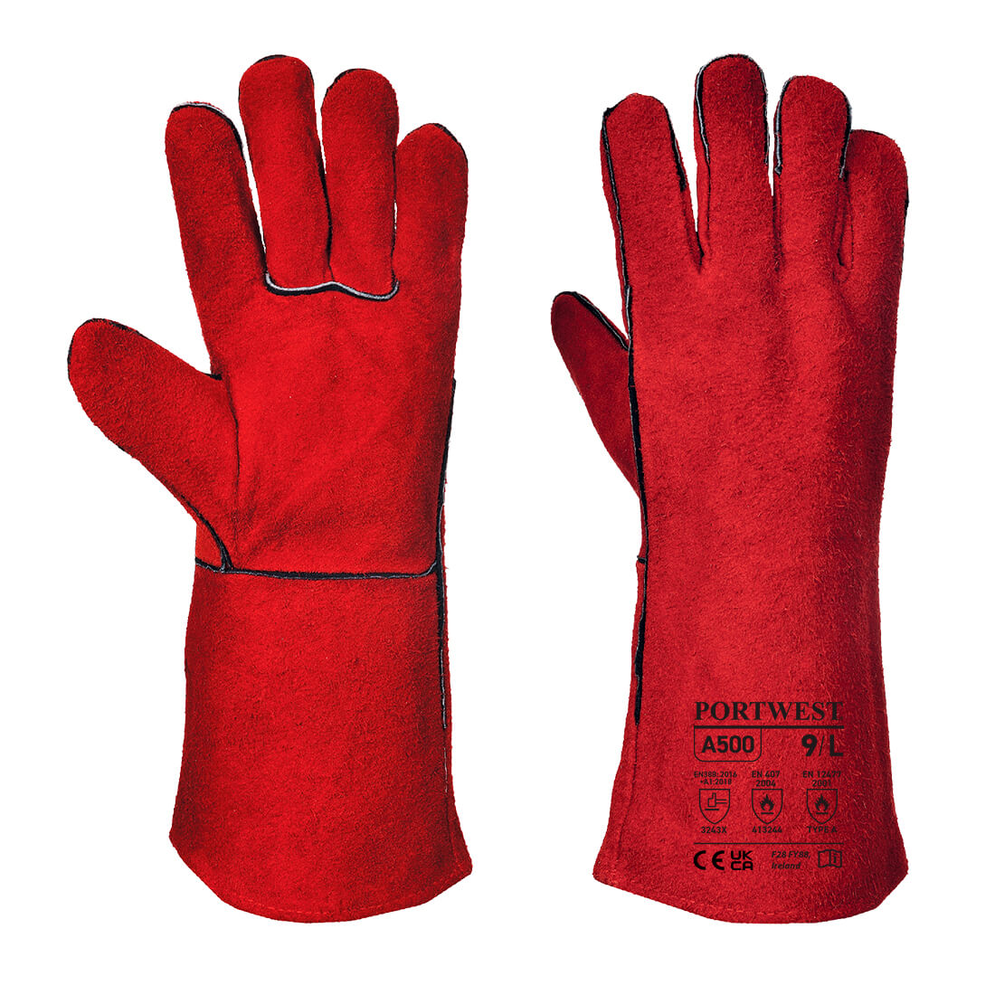 Welders Gauntlet, Red        Size XL R/Fit