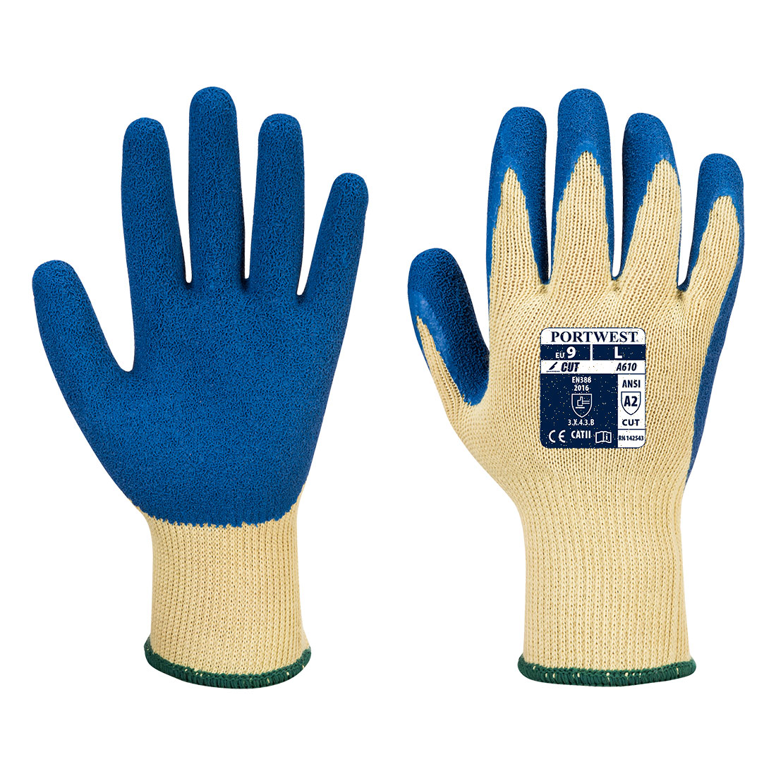PortWest Unisex Tough Grip Glove Yellow Various Size A135