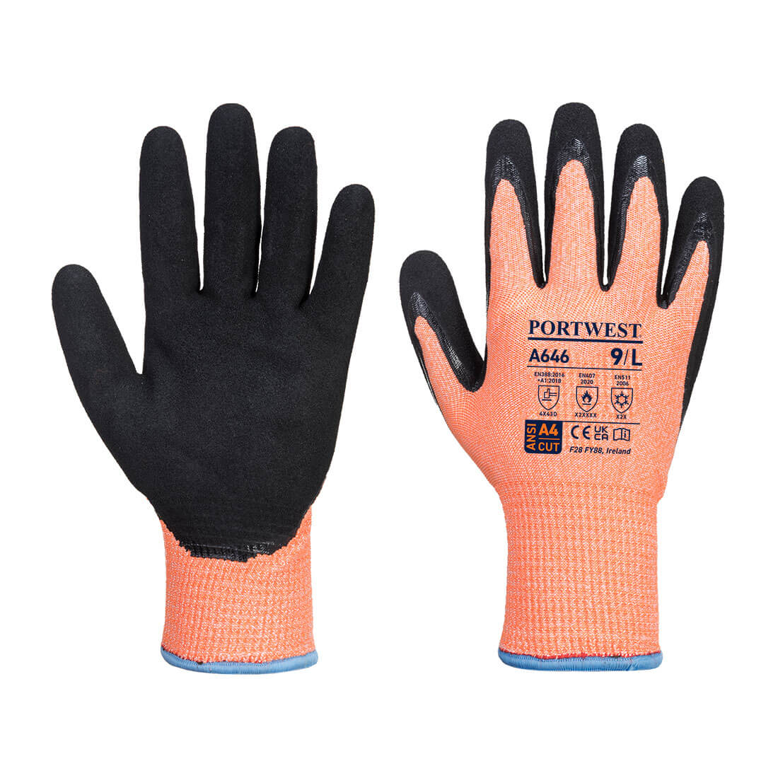 Vis-Tex Winter HR Cut Glove Nitrile Orange/Black Large