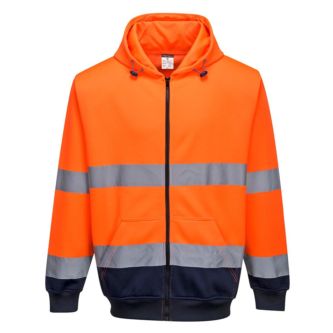 Two-Tone Zip Front Hoodie Orange XXL