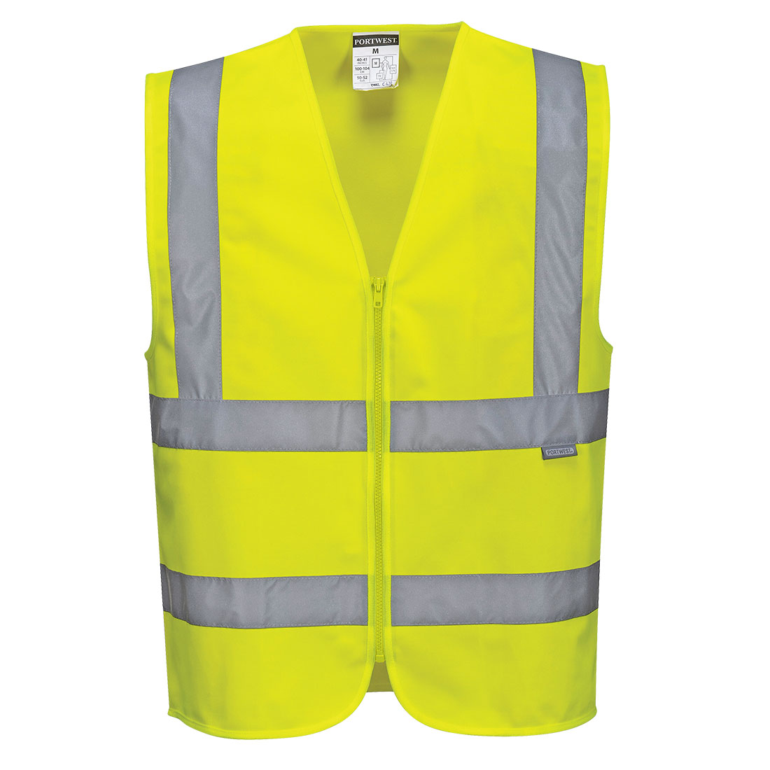 Hi-Vis Zipped Band & Brace Vest Yellow Large