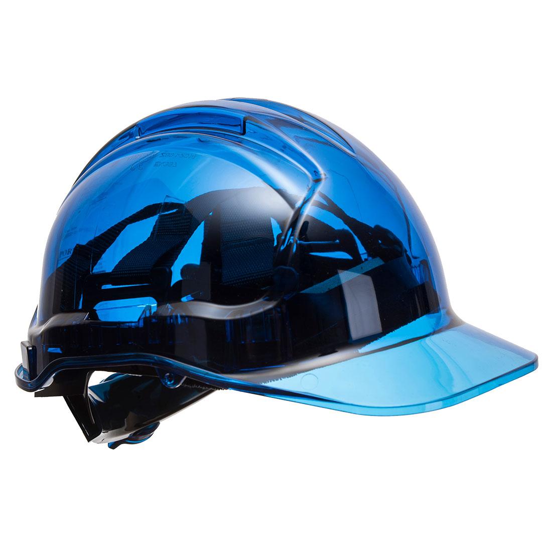 Portwest PV64 Translucent Peak View Ratchet Hard Hat, Blue  U/Fit
