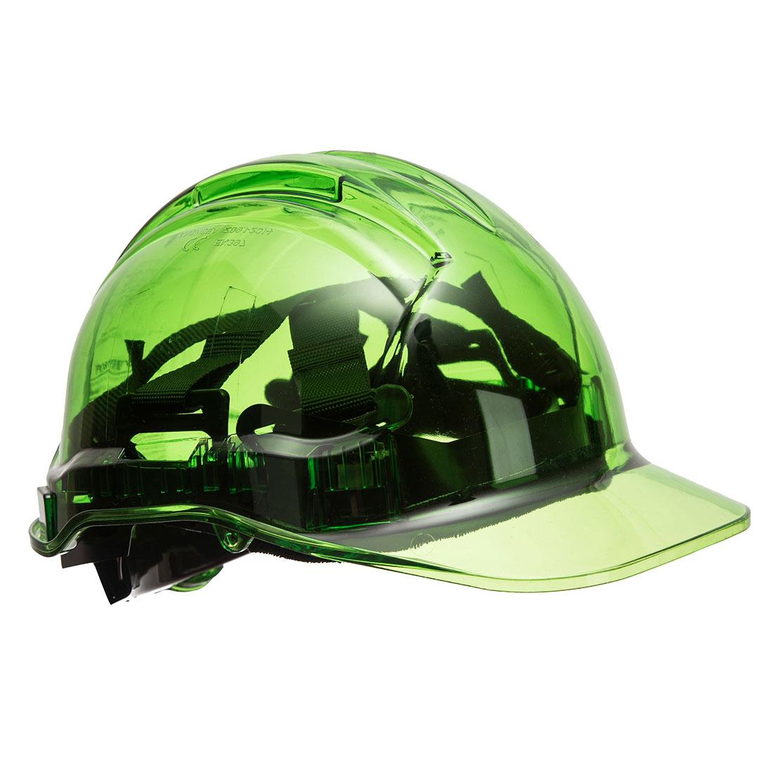 Portwest PV64 Translucent Peak View Ratchet Hard Hat, Green  R/Fit
