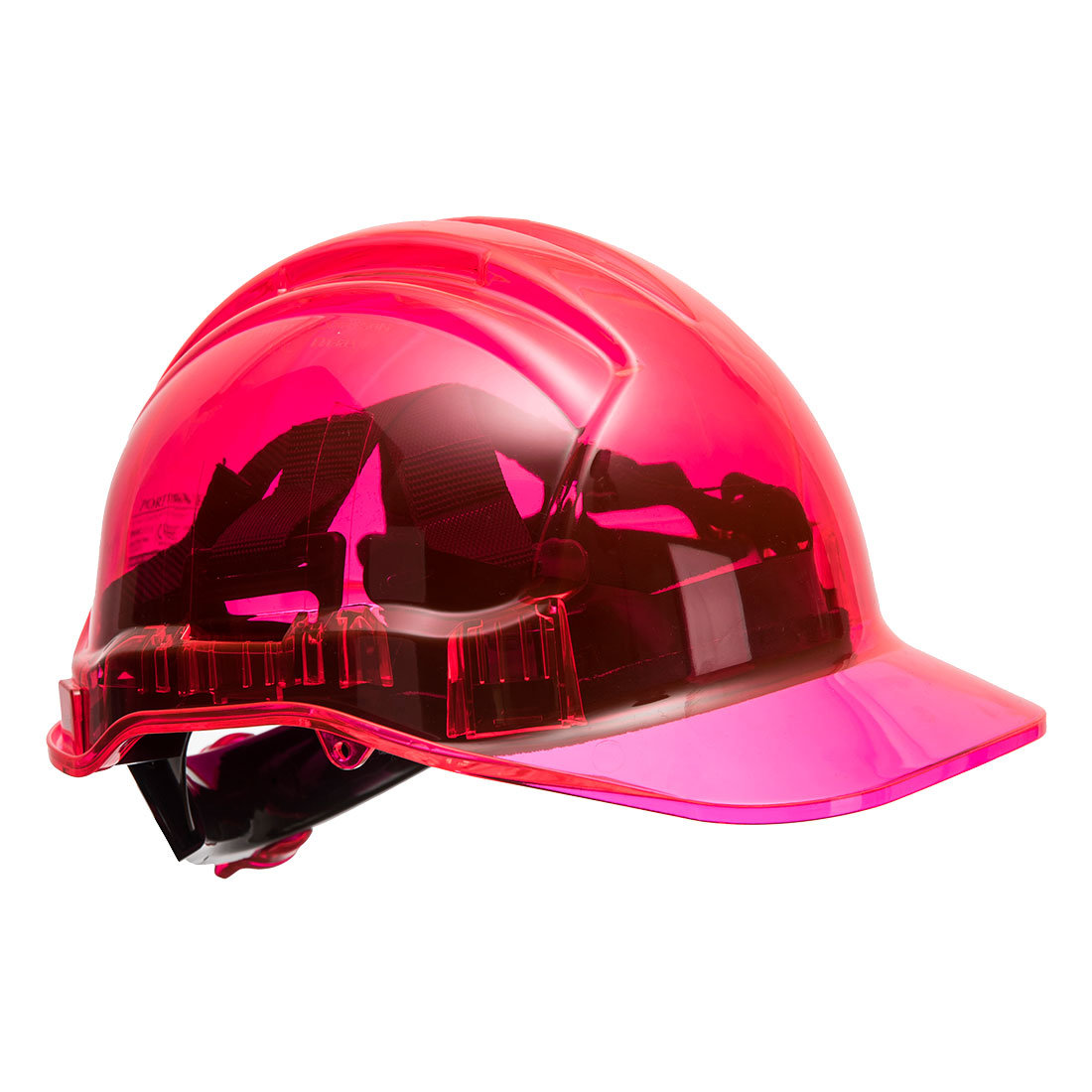 Portwest PV64 Translucent Peak View Ratchet Hard Hat, Pink  R/Fit
