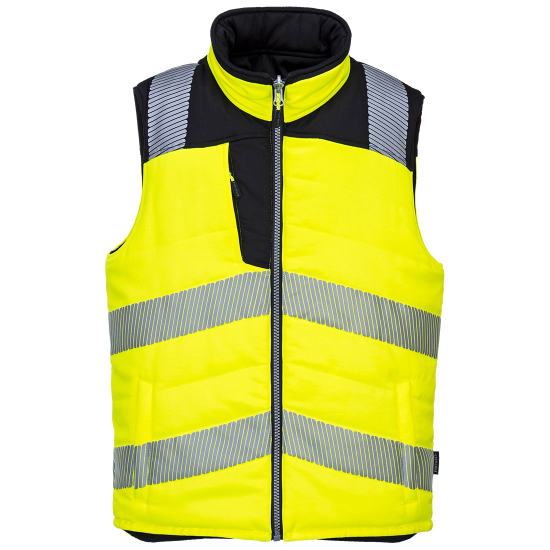 PW3 Hi-Vis Reversible Bodywarmer Yellow/Black Medium