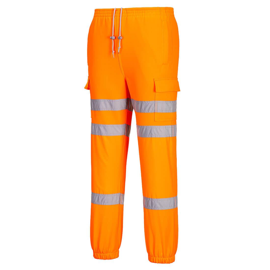 Hi-Vis Jogging Bottoms Orange Small