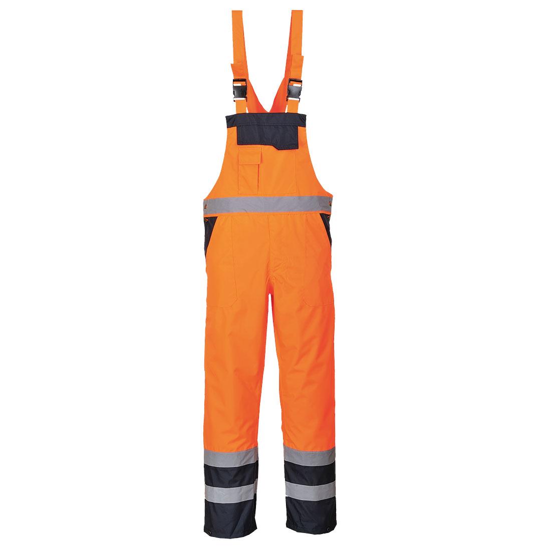 Contrast Bib & Brace - Lined Orange XL