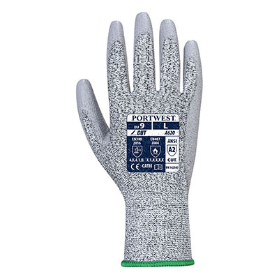 Portwest A620 LR Safety Work Glove with PU Coated Cut Resistant Grip Palm ANSI